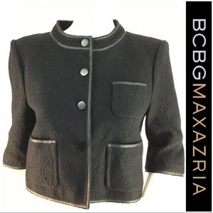 BCBG Black Cropped Wool Blend Career Jacket